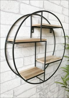 Retro Industrial Style Wall Shelf Black Round Circle Metal and Wood Shelving Unit Approx tall and wide and deep Made from metal and finished in black Four wooden shelves Ready to hang Requires screws to fix to wall Brand new and in box Kitchen Shelf Unit, Kitchen Wall Shelves, Shelves In Bedroom, Plant Shelves, Metal Bathroom Shelf, Corner Shelf Unit, Wall Shelf Unit, Kitchen Wood, Wall Units