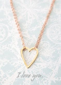 Golden Heart on Rose Gold Chain Necklace - simple rose gold filled necklace, gold heart, best friends, sisters, mum, my love, bridesmaid, www.colormemissy.com