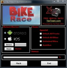 Bike Race Cheats Tool v5.83 2014 for Android/iOS. Working without problems. Download here! The Best Cheats only from YavTeam. http://www.yavteam.com/bike-race-cheats-tool-v5-83-2014/