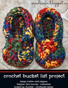 Oombawka Design *Crochet*: Drew's Winter Slippers - Toddler Child Slipper Pattern by Mamachee - A CBL Project