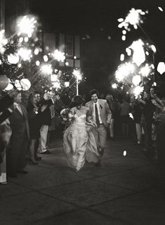 Everybody becomes a kid with a sparkler in hand and look great in photos.  Plan send-off photo for your album.