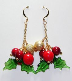 Holly Leaves Holiday Earrings Art Glass Beads