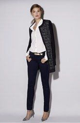 Adrianna Papell Jacket, Anne Klein Blouse & KUT from the Kloth 'Diana' Skinny Jeans