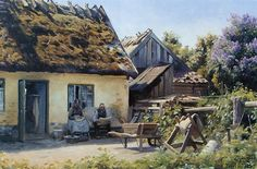 L'artista Peder Mork Monsted (Peter Mørk Mёnsted Part 3 foto) Paintings I Love, Beautiful Paintings, Cool Landscapes, Landscape Paintings, Pintura Exterior, Fairytale Cottage, Medieval Houses, Painted Cottage, Traditional Landscape