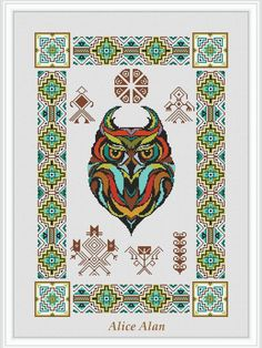 Cross Stitch Pattern Sampler Owl totem ornament Indians (Ethnic owl) Counted Cross Stitch Pattern / Instant Download Epattern PDF File