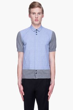 UNDERCOVER Blue check knit Contrast Shirt
