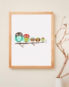 Owl Family Forest Friends 8x10 Eco Friendly Print. $22.00, via Etsy.