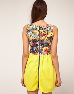Rare Contrast Skirt Skater Dress In Photographic Floral Print