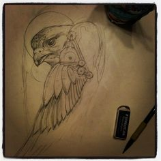 Late night for an upcoming # . Small Falcon, Art Sketches, Art Drawings, Falcon Tattoo, Some Ideas, Late Nights, Cool Tattoos, Egypt, Steampunk