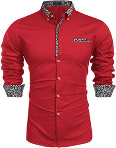 Shop a great selection of COOFANDY Men's Floral Dress Shirt Long Sleeve Slim Fit Casual Cotton Button Down Shirts. Find new offer and Similar products for COOFANDY Men's Floral Dress Shirt Long Sleeve Slim Fit Casual Cotton Button Down Shirts. Mens Floral Dress Shirts, Red Shirt Dress, Slim Fit Dress Shirts, Slim Fit Dresses, Men Dress, Dress Girl, Mens Designer Shirts, Designer Suits For Men, Moda Formal