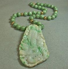 Abhirati Vintage Bead Necklace- Buddha Jadeite PendantApple JadeGold | EurekaEureka - Jewelry on ArtFire