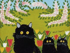 Folk artist Maud Lewis' paintings of idyllic villages, sleds and seagulls a far cry from her dire reality Tom Thomson, Maud Lewis, Black Cat Painting, Toronto, Leo, Festivals Around The World, Fine Art Auctions, Colorful Paintings, Cat Paintings