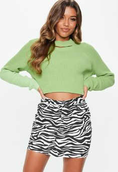 2944f877ca neon-lime-green-cut-out-cropped-sweater Cropped Sweater