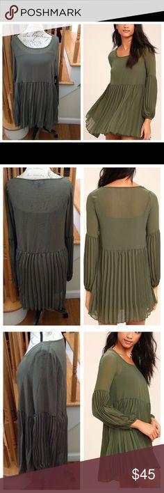 ✨Pleats Green Long Sleeve Dress✨ ✨Long Sleeve Dress w/ Button Cuffs✨Babydoll Bodice✨Self 100% Polyester✨Lining 95% Polyester & 5% Spandex✨ Lulu's Dresses Mini