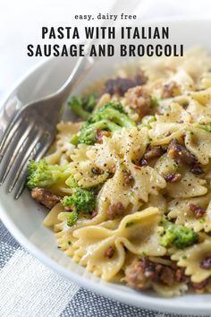 dairyfree flavorful broccoli italian sausage dinners recipe great penne pasta dairy night ties make week This easy recipe for pasta with Italian sausage and broccoli is flavorful and dairy free Its grYou can find Dairy free dinner and more on our website Pork Recipes, New Recipes, Cooking Recipes, Healthy Recipes, Dairy Free Italian Recipes, Easy Recipes, Pasta Recipes Lactose Free, Simple Pasta Recipes, Light Pasta Recipes