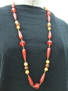 Vintage 1970s Necklace Plastic Amber Color by GoodGoodyGirlsJewels, $18.00
