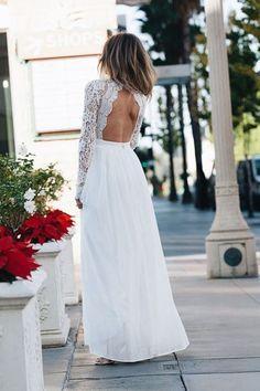 Open back vintage lace wedding dress 13