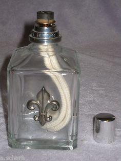 Trend FLEUR DE LIS Vintage LAMPE BERGER Catalytic Fragrance Oil Lamp w Wick u Cap HTF