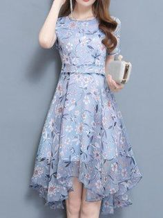 Chiffon Floral Short Sleeve Irregular Hem Dressed Date Dress Stylish Dress Designs, Stylish Dresses, Elegant Dresses, Pretty Dresses, Beautiful Dresses, Casual Dresses, Short Dresses, Summer Dresses, Korean Fashion Dress