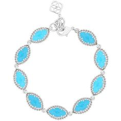 Kendra Scott Jana Silver Bracelet in Turquoise ($50) ❤ liked on Polyvore featuring jewelry, bracelets, silver turquoise jewelry, kendra scott, blue turquoise jewelry, silver jewellery and green turquoise jewelry