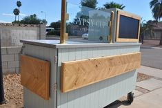 Mobile Coffee Cart Makeover - Before & After — the Awesome Orange Cafe Shop Design, Kiosk Design, Booth Design, Mobile Coffee Cart, Mobile Coffee Shop, Mobile Food Cart, Food Stall Design, Food Cart Design, Coffee Trailer