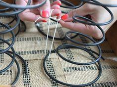 tying springs to webbing