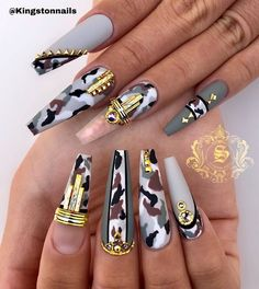 Try some of these designs and give your nails a quick makeover, gallery of unique nail art designs for any season. The best images and creative ideas for your nails. Fabulous Nails, Gorgeous Nails, Pretty Nails, Camouflage Nails, Camo Nails, Camo Nail Art, Nail Design Stiletto, Stiletto Nails, Dope Nails