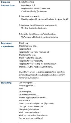 Useful Business Expressions: Business Introductions, Expressing Appreciation, Explaining, Asking For Help etc. - learn English,vocabulary,communication,english