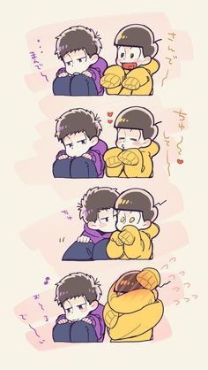 Ichimatsu and Jyushimatsu Osomatsu San Doujinshi, Gekkan Shoujo Nozaki Kun, Ichimatsu, Comic Page, Anime Figures, Manga, South Park, Cute Drawings, Webtoon