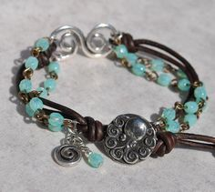 Aqua Silver Swirl Bracelet with Leather and by SeaSideStrands