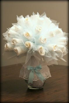 Diaper Bouquet Tutorial.  Baby boy shower gift. website for instructions