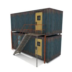 Elevate your workflow with the Cabin Containers - Blue asset from Aerolife. Find this & other Urban options on the Unity Asset Store. Shipping Container Design, Cargo Container Homes, Container Shop, Container House Plans, Container House Design, Container Houses, Container Cabin, Shipping Containers, Container Architecture