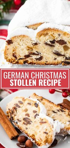 German Stollen is loaded with rum raisins, candied fruit, and nuts. This traditional German Christmas recipe is a very special treat that has a long history and is very popular during the Holidays. German Christmas Stollen Recipe, German Stollen, German Christmas Food, Christmas Desserts, German Bread, Christmas Holidays, New Year's Desserts, German Desserts, German Recipes