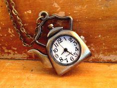1 Pc Vintage Teapot Pocket Watch Necklace by KaysvilleCraftSupply
