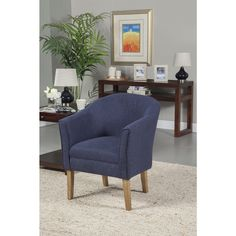 HomePop Navy Chunky Textured Accent Chair - Overstock™ Shopping - Great Deals on HomePop Living Room Chairs