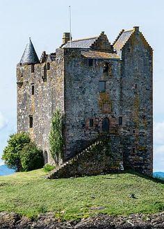 Castle Stalker picturesquely set on a tidal islet on Loch Laich, an inlet off Loch Linnhe.