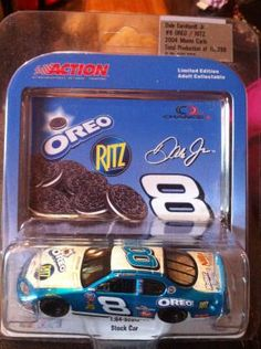 Dale Earndhart,Jr Oreo Cookies / Ritz Crackers Limited Edition #8 toy stock car. Blue and white. 1:64 scale. Action. Limited edition adult collectable