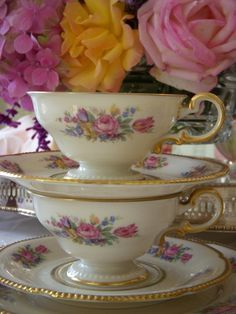 Castleton Rose China Teacups and Saucers