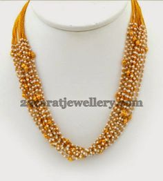 Jewellery Designs: Gold and Pearl Beaded Chain