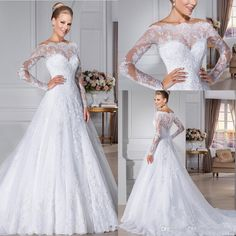 2016 Glamorous Lace Wedding Dresses Off the Shouder Sheer Long Sleeves Button Back Plus Size Vestidos De Novia Robe De Mariage Bridal Gowns Online with $140.71/Piece on Nameilishawedding's Store | DHgate.com