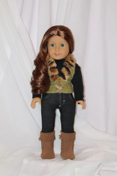 "Fur trimmed, suede vest for your American Girl Doll or other 18"" dolls. Only at www.alldolledup-dollclothes.com"