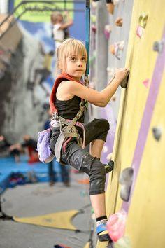 Cutest Little Girl Ever Climbs with Violet Bat Chalk Bag by Crafty Climbing @craftyclimbing  Pic Szymon Aksienionek