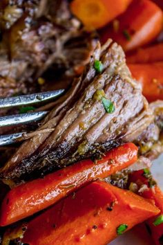 Easy Fall-Apart Pot Roast with Carrots (Slow Cooker) from The Food Charlatan. Super tender, juicy, fall-apart pot roast is not as hard as you think! This slow cooker recipe uses a few simple ingredients (one of them is patience...) to make the most flavorful (yet stupid easy) pot roast ever! Carrots add the perfect touch! Everyone loves a classic. #classic #comfort #comfortfood #roast #roastbeef #potroast #beef #carrots #slowcooker #crockpot #mississippi #chuck #recipe #dinner #holidays #... Roast Beef Recipes, Slow Cooker Recipes, Cooking Recipes, Bison Recipes, Crock Pot Slow Cooker, Meat Recipes, Fall Recipes, Crockpot Recipes, Chicken