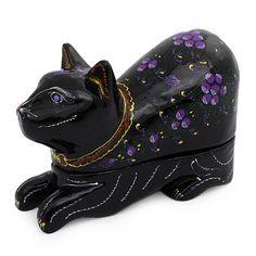 Unique Lacquerware Mango Wood - Blue-Eyed Kitty Cat | NOVICA
