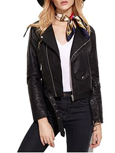 "Verdusa Women's Faux Leather Motorcycle Biker Short Coat Jacket Slim Zipper Jacket  Lapel Collar,Zip Up,Pockets,Belt  Slim,Short style, suitable for daily work,casual wear.  MODEL MEASUREMENTS: Height: 176cm/5'9"", Bust: 84cm/33"", Waist: 61cm/24"", Hip: 88cm/35"",Wear: M  Regular Fit. Recommended to choose ONE size up for good fit.  Please refer to the size measurement below before ordering."