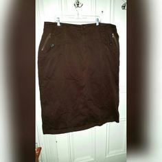 """Long brown skirt Long, brown straight skirt. 35"""" long 98% cotton, 2% spandex.  Has pockets on the sides that have a zipper & button. Back pockets also have zippers.  See picture. Like new condition! Fashion Bug Skirts Maxi"""