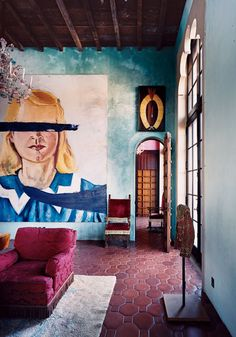 """Julian Schnabel has planted """"Palazzo Chupi,"""" a Pompeii-red palazzo, atop an early-20th-century factory building on the western edge of Greenwich Village"""