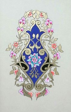 This Pin was discovered by cam Islamic Art Pattern, Pattern Art, Flower Art Images, Glue Art, Illumination Art, Tinta China, Iranian Art, Turkish Art, Islamic Art Calligraphy
