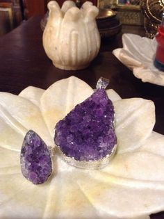 Amethyst in its raw state. Nature at its most beguiling. Handcrafted Amethyst ring and pendant set in sterling silver.