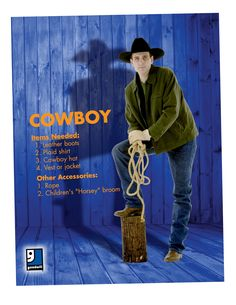 Ready for Halloween partner? A cowboy is an easy DIY costume that you can throw together with items from your closet or a trip to Goodwill!